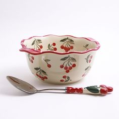 Cherry Jubilee 4-qt. Mixing Bowl with Spoon...cute <3 #Cherries