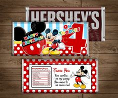INSTANT DOWNLOAD Mickey Mouse Candy Bar by MyCelebrationShoppe, $3.50