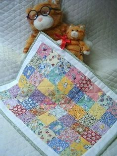 Mini Patchwork Doll Quilt  1930's Reproduction by SEWFUNQUILTS,