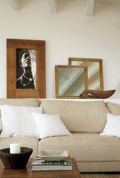 Linen sofa with brown & white accents
