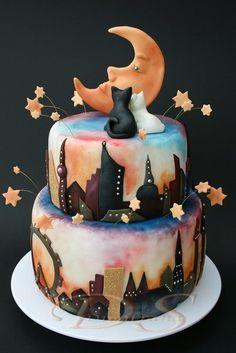 silhouett, skylin cake, alley cat, pretti cake, wedding cakes, dreami cake, cake art, birthday cakes