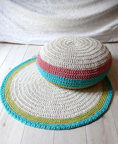 Crocheted pouf and rug from lacasadecoto on Etsy