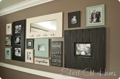 Love this frame wall for my basement living room.