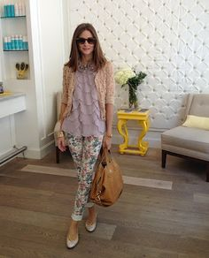 Cardigan over an Ann Taylor Factory Georgette Petal Top and paired with River Island Pink Floral Rose Print skinny jeans, French Sole Harriet Silver Leather Flats, Ray Ban sunglasses and Givenchy Nightingale in Cinnamon.