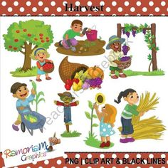 Harvest Clipart from RamonaM Graphics on TeachersNotebook.com -  (30 pages)  - This set is full of busy children harvesting fruit and vegetables. Each image is PNG and 300dpi in Black & White, colored with colored outlines and colored with black outlines