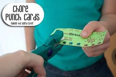 Punch-Cards, $ per chore. Payday at end of week. kid chores, punch card, chore fun, spring cleaning, kids chore reward, reading logs, kids reward system, card boxes, chore charts