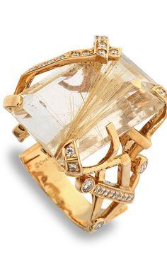 Emmy DE * Chanel Ring | 18k Gold, Rutilated Quartz and Diamond Ring