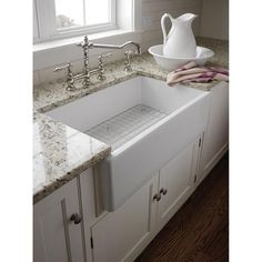 """The sink is very sturdy and great for quieting your garbage disposal a bit. Looks great and has plenty of room for any dish or sink need. Exactly what we were looking for. Easy to clean."" -Home Depot customer markmywords farmers, idea, apron front kitchen sink, farmhouse sinks, kitchen sinks, farm sinks, farmhous sink, dream kitchens, farmer sink"