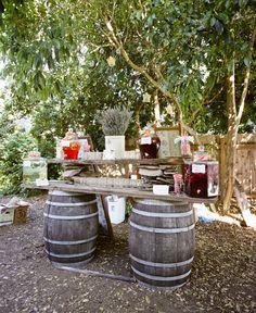 wine bars, wine barrels, party bars, backyard parties, food bars