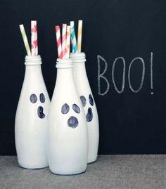 Halloween Boo Bottles #holiday #decor #crafts #DIY #upcycle #halloween #festive #home