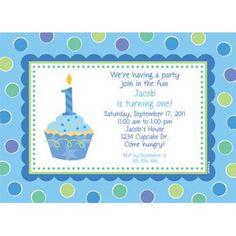Cupcake 1st Birthday Boy Personalized Invitation