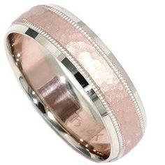 Hammered Wedding Band 14K Rose Gold black-ivory-vintage-wedding