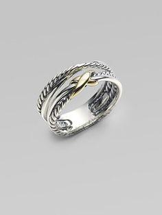 David Yurman Sterling Silver & 18K Yellow Gold Ring