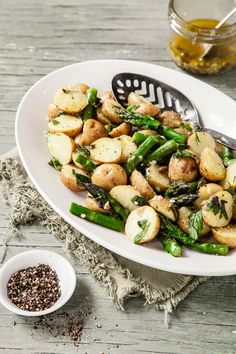 Warm Potato and Asparagus & Herb Salad with Garlic Caper Dressing