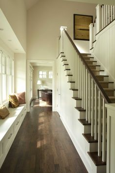 Like these stairs - runner, white risers, simple banister