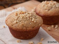 Peanut Butter-Banana Muffins - Peanut butter and banana are a match made in heaven, don't you think? These breakfast muffins are easy to take with you on the go!