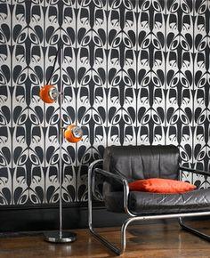 art nouveau inspired black and silver wallpaper by barbara hulanicki at graham and brown #artnouveau #wallpaper