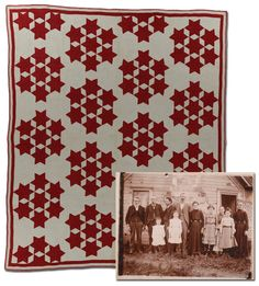 Seven Sisters Circa 1850-1870 Possibly made in Indiana.. love that the quilt is in the pic!