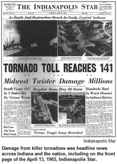 1965 palm sunday tornado outbreak | Damage from killer tornadoes was headline news across Indiana and the ...