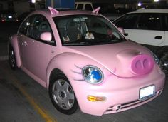 pink pig car
