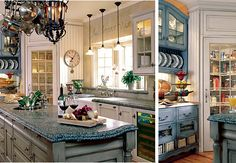 There is a deep love in my heart for french country kitchens. So beautiful! country cottages, kitchen idea, blue, countri kitchen, french country style, french countri, french country kitchens, french kitchens, kitchen designs