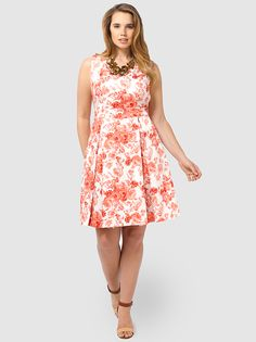 Sketch Me If You Can Dress In Coral Floral by,Poppy&Bloom,Available in sizes 14/16,18/20 and 22/24