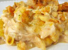 Unforgettable Chicken Casserole Chicken. Cheese. Sour cream. Mayo. Fried onion. Water chestnuts. Almonds. Celery. Cream of chicken soup.