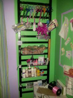 Recycled crib railing turned craft organizer