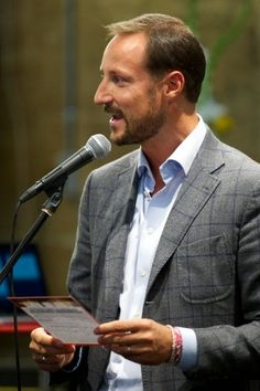 Norwegian Crown Prince Haakon deliver a speech during visits to the opening of the National Centre of Competence on 15.09.14 in Drammen, Norway