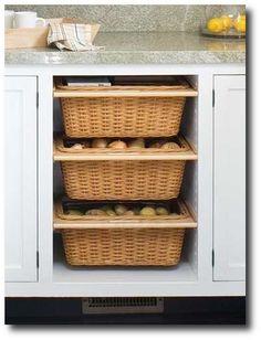 kitchens, storing vegetables, kitchen storage, cabinet doors, potato, baskets, drawer, onion, kitchen cabinets