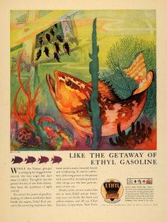 1931 Ad Ethyl Gasoline Nassau Fish Carl V Burger Art - Original Print Ad