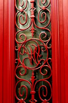 red wrought iron gate