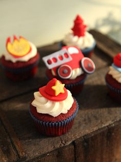 Fireman Hat Cupcake Toppers