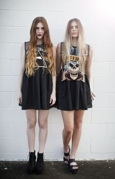 Chicks in oversized rock tees.