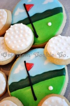 golf cookie, golf cakes, father day, golf party, decorated cookies
