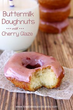Buttermilk Doughnuts with Cherry Glaze - An old-fashioned doughnut recipe with a simple cherry glaze! #breakfast #doughnuts by lovebakesgood...