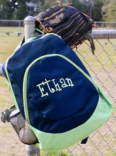 Personalized With Embroidery Navy Blue and Green School Backpack
