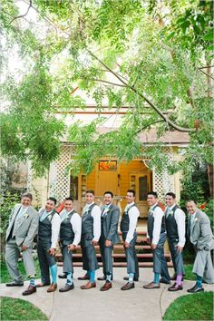 Clever photo ideas: groomsmen wearing fun socks #groomstyle http://www.weddingchicks.com/2014/01/10/elegant-garden-wedding/
