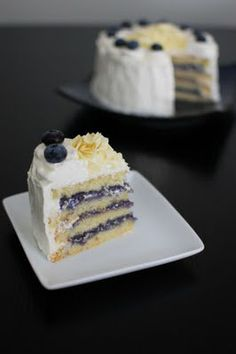 White Chocolate Layer Cake with Blueberry Curd Filling