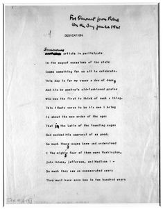 Dedication is Robert Frost's Poem written for the Innauguration of JFK on January 20, 1961. Blinded by the sun's glare on the snow, he was unable to read it and instead recited 'The Gift Outright', written in 1942.  #Robert_Frost #Dedication #JFK