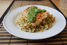 Wicked cool salmon with basil sauce recipe.