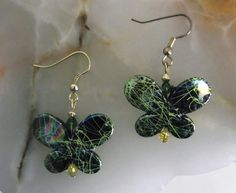 """Green on Black Butterfly"" pierced earrings"