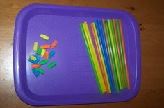 Matching erasers to straws by color