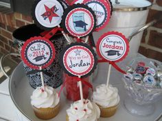 Graduation Cupcake Toppers high school by Cupcakeqtscelebrate