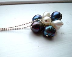 Black and White Freshwater Pearl Cluster Necklace by baloos, $32.00
