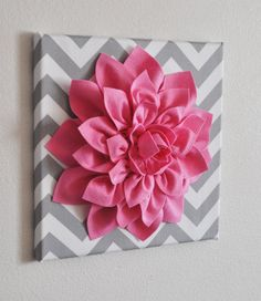"Pink Wall Flower -Bright Pink Dahlia on Gray and White Chevron 12 x12"" Canvas Wall Art- Baby Nursery Wall Decor-. $34.00, via Etsy."