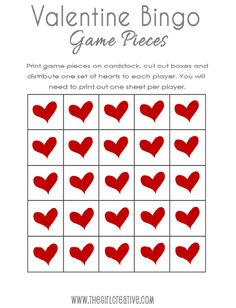 Printable Valentine Bingo Cards AND Matching Printable Bag Toppers from Diana at Project Inspire.