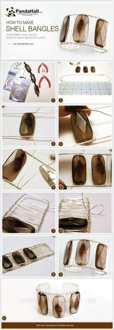 Jewelry Making Tutorial ~~ How to Make Wire Wrapped Shell Bangle Cuffs