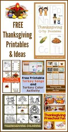 Thanksgiving Printables and Ideas from @1plus1plus1