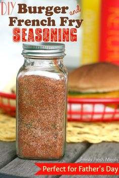 DIY Burger and French Fry Seasoning - Tastes great on veggies, chicken, and popcorn too! FamilyFreshMeals.com - Perfect for Father's Day